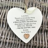 Shabby personalised Gift Chic Heart Plaque Special SISTER Present ANY NAMES Gift - 253984874381
